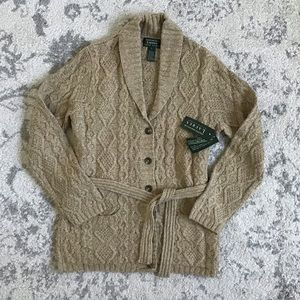 Ralph Lauren NWT Sm Tan Cable Hand Knit Cardigan